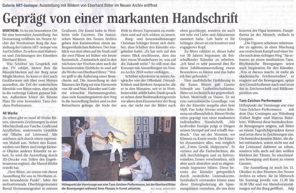 Presse: Fränkische Nachrichten 16.09.2017